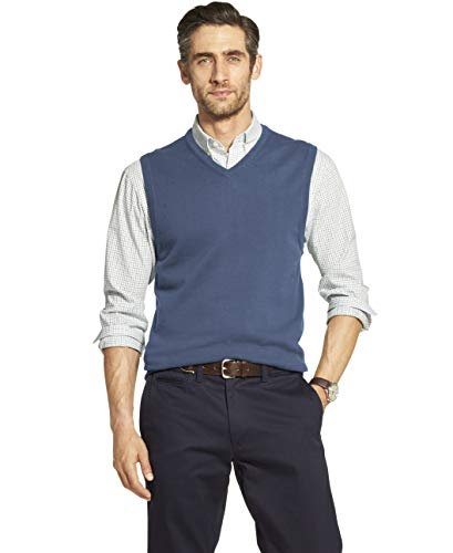 IZOD Men's Premium Essentials Solid V-Neck 12 Gauge Sweater Vest, FEDERAL BLUE, Medium