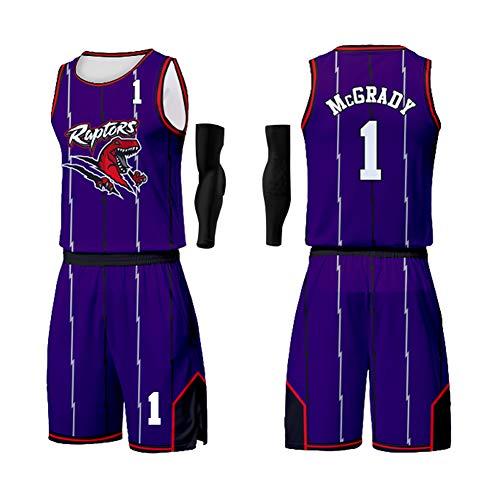 GWCASA per Allen Iverson Tracy McGrady Mesh Basket Swingman Jersey, Maglia Versione Fan, Divisa Classica da Gioco ad Alte Prestazioni, Comoda e Traspirante, Adatta a Bambini e Adulti-1#purple-3XL