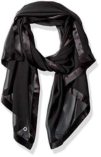 Calvin Klein Women's Lightweight Wrap Scarf, deep black, One Size