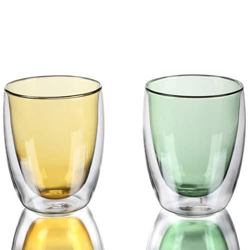 GuangYang 2 x 400 ml tazze in vetro a doppia parete, bicchieri da caffè, tazze da caffè in due colori trasparenti per Cola, caffè, tè, espresso, cappuccino, latte, birra, latte, bevande calde.