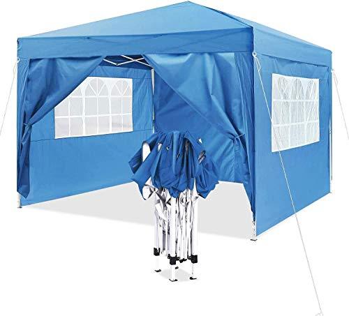 MVPower Pavillon (3x3m, Pop Up Wasserdicht Faltpavillon, Sonnenschutz, 4 Seitenteilen, Tragetasche, Partyzelt, Gartenpavillon)