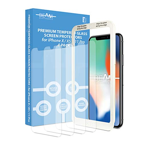 [4 Pack] Screen Protector for iPhone X, iPhone XS, iPhone 11 Pro, Beam Electronics Tempered Glass Screen Protector- 99% Touch Accurate with Easy Installation Tray and Accessories