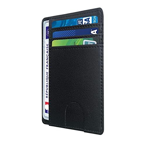 Porte carte identité française, portefeuille carte bancaire anti piratage, en cuir | Blocage RFID | Anti fraude, anti piratage | Élégant et minimaliste (Noir)