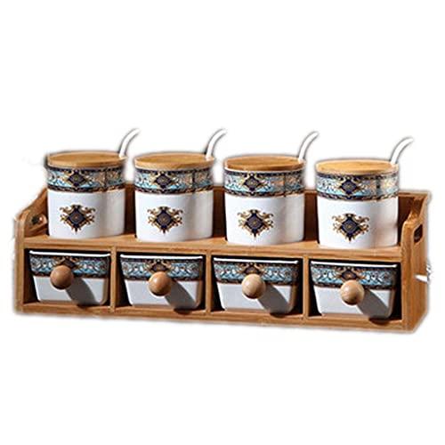 Laqemhu Kitchen Spice Jar Ceramic Spice Jar Double-layer Storage Box Drawer Spice Box Household Combination Set (Color : Blue, Size : 41.5 * 13 * 15.5cm)