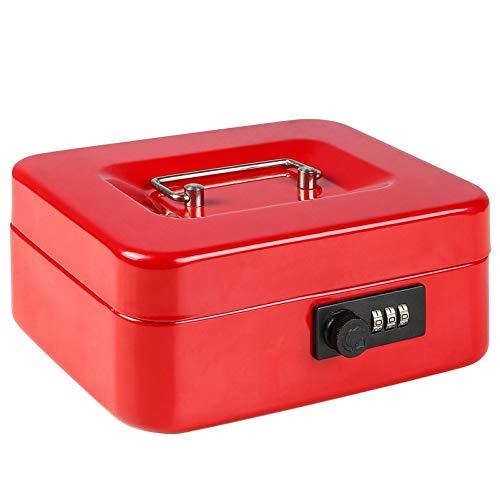Parrency Caja de seguridad con cerradura de combinación, caja de metal pequeña con bandeja para dinero, 7 4/5' x 6 4/5' x 3 3/5', color rojo