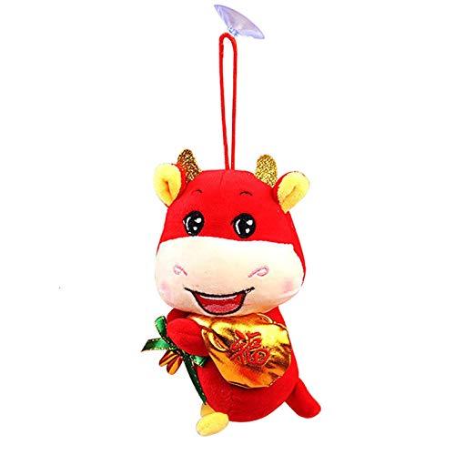 Chinesisches Neujahrs-Ochsenspielzeug, Rotes Ochsenplüschtier, Ochsenanhänger Viel Glück Ornamentdekorationen, 2021 Chinesisches Neujahrsochsenplüsch-Maskottchen-Partydekorationsgeschenk
