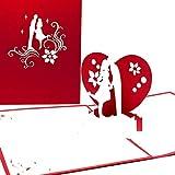 3D Valentinskarte + Hochzeitskarte- Pop-Up zu Hochzeit, Verlobung, Valentinstag