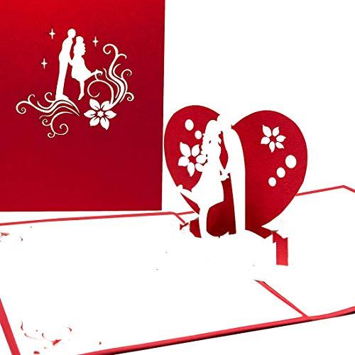 """Pop Up Karte\""""The Kiss\"""" Liebesgruß, Verlobungskarte,Valentinskarte, Liebespaar, Brautpaar, Geburtstagskarte, Hochzeitskarte, 3D Karte, Valentinstag, Geburtstag, Liebe, Verlobung, Hochzeit, Einladung"""