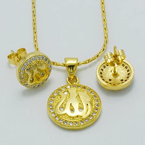 UCJHXFR Collar y pendientes de Alá con circonitas para niños, oro Cz islámico musulmán, collar para bebé, regalo # 040802