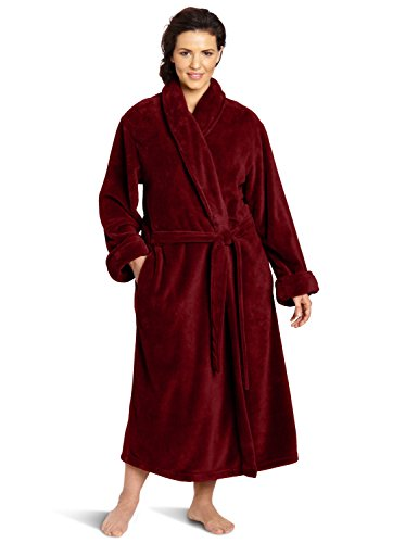Casual Moments Women's Plus-Size 50 Inch Set-In Belt Robe, Deep Plum, 1X