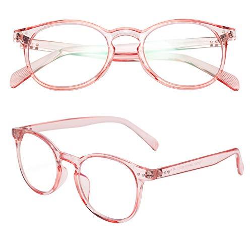 老眼鏡 ブルーライトカット 軽い おしゃれ メンズ レディース ケース付き ボストン ピンク 度数+1.50 TR2301