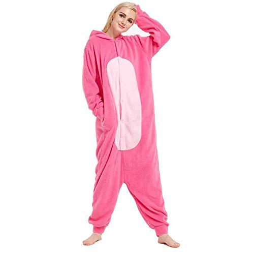 JIAWEIDAMAI Pijama de Pantera Rosa de Forro Polar para Adulto Kigurumi para Disfraz de Halloween, Disfraz de Leopardo Rosa de una Sola Pieza Traje de Cosplay