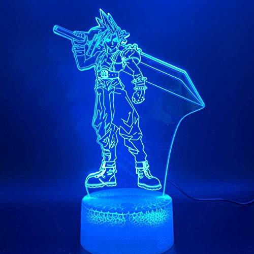 3D LED Nachtlicht Lampe Final Fantasy Cloud Strife Figur Wohnkultur Farbwechsel Geburtstagsgeschenk für Kinder Schlafzimmer Nachtlicht