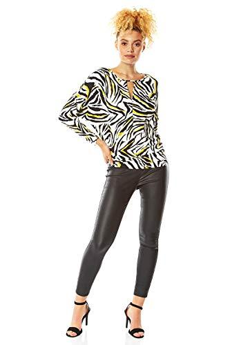 Roman Originals damesbovenstuk met roofdierprint en sleutelgatuitsnijding – dames tops, nonchalant elegant, dagelijks gebruik, blouses, tijgerprint, trendy, ronde hals, 3/4-arm