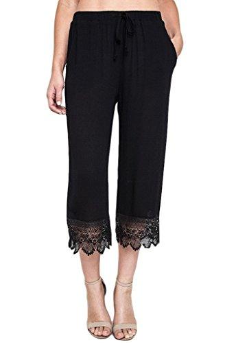 Umgee USA Women's Cropped Capri Pants with Crochet Lace Bottom (Medium, Olive)