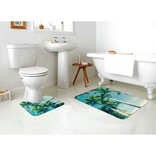 Bath Mat Set Retro Image Tropical Palm Swaying Gently 2 Piece Area Rug Set Includes Toilet Oval U-Shape Contoured Mat and Bathroom Rugs, Bath R   ugs Washable Non Slip for Tub Shower