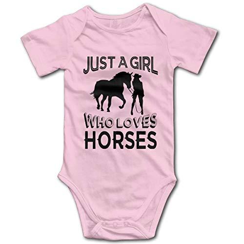 Promini Just A Girl Who Loves Horses - Mono de algodón de manga corta para bebé, 9-12 meses, ZI9638