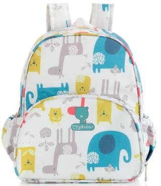 Pirulos 47412220 - Mochila, diseño happy zoo, 26 x 30 x 12 cm, color blanco y gris