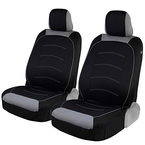 Motor Trend Black Cloth Car Seat Covers for Front Seats – Premium Automotive...