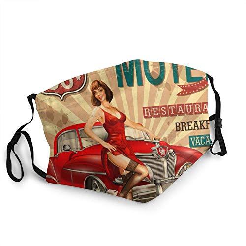 Máscara facial Motel Route 66 Vintage Poster Coche Reutilizable Lavable Hombres Mujeres Tela Cubierta de Polvo Cara Cubierta Otoño Otoño Otoño Otoño Otoño Otoño Escudo Pasamontañas