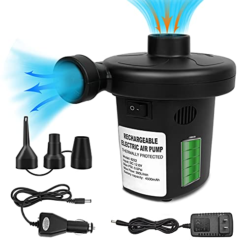 Electric Air Pump for Inflatables, Air Mattress Pump Rechargeable Battery Air Pump with 3 Nozzles for Airbed Boats Swimming Ring Inflatable Pool Toys Inflator Deflator 12.6V DC Adapter (1500mAH×3)