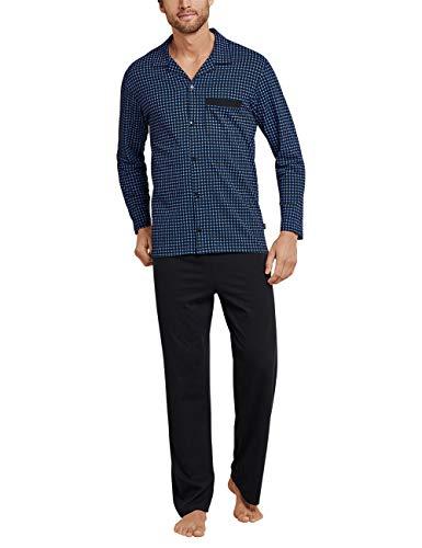 Schiesser Herren Pyjama lang Zweiteiliger Schlafanzug, Blau (Royal 819), Large (Herstellergröße: 102)