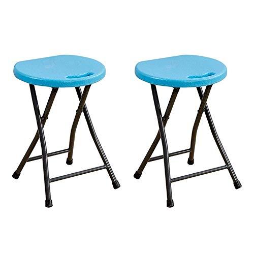 JIEER-C vrijetijdsstoel klapkruk van kunststof voor eetkamer, frame van metaal, praktisch tafel, rond, kantoor, keuken, woonkamer, robuust 2 pieces random color