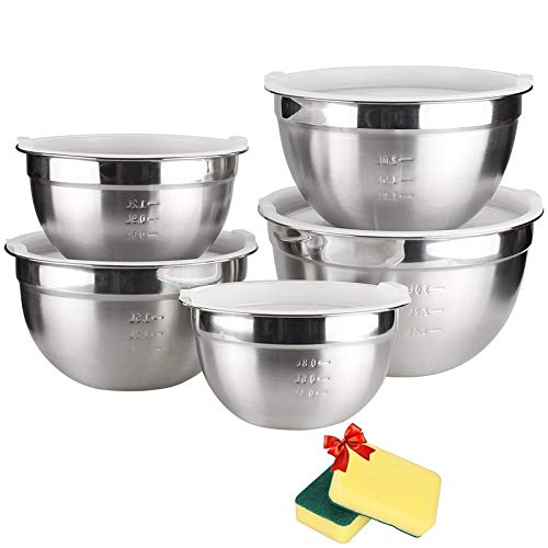 TUXWANG Edelstahl Schüssel Set 5 Piece Salatschüssel mit Deckel und abgestuften Messmarkierungen, stapelbar für bestmögliche Lagerung