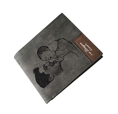 Cartera de piel personalizada con foto grabada con texto en inglés, gris (Gris) - XMCYS062040