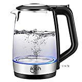 iKich Glass Electric Kettle Illuminated, 1.7L Eco Cordless Water Kettle with Auto Shut-Off