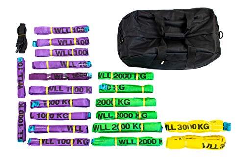 Dolezych Rundschlingen-Set 1000-3000 kg Tragfähigkeit, 20-teilig - Violett/Grün/Gelb