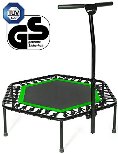 SportPlus Fitness Trampoline with Bar – Ideal for Home Cardio Workout – Training – Silent Bounce - Ø 110 cm – Max Load 130 Kg (User Weight)