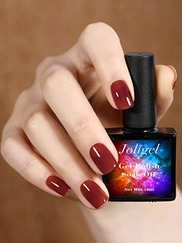 Joligel Gel Nail Polish UV LED Semipermanent Manicure Nail Lacquer for Autumn Winter 10ML Blood Red Brick Red