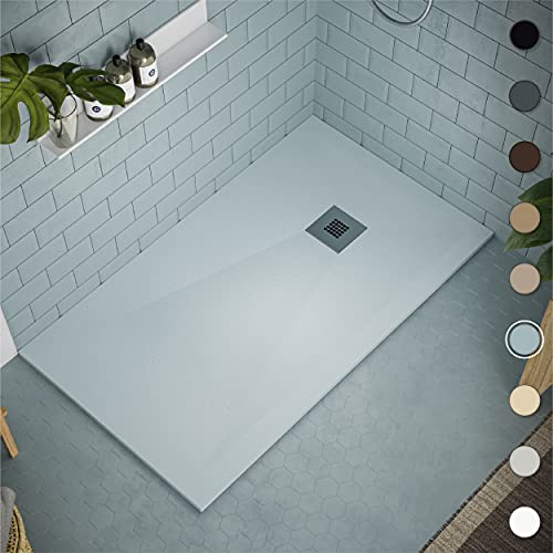 Shower Tray 700 x 1500 Stone Resin Allier - Anti Slip and Low Profile - Matte Finish and Smooth Texture - All Sizes Available - Shower Waste and Stainless Steel Grid Included - Grey NCS S 1510 B