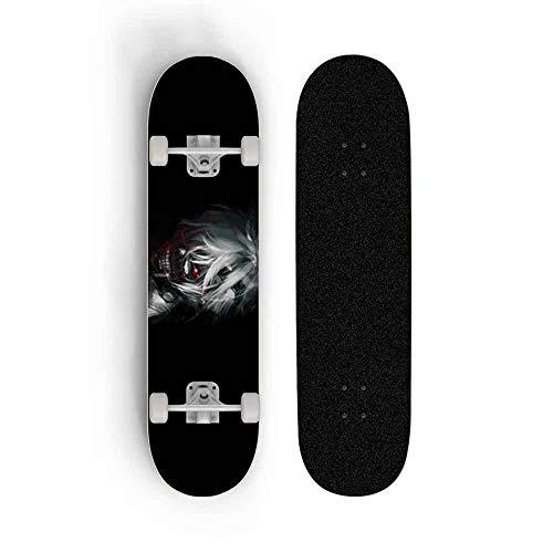 Kssmice Wallpaper für Tokyo Ghoul Kaneki Ken Skateboard Jungen Mädchen Anfänger Professionelle Erwachsene Road Pinsel Street Ahorn Boards Vierrad Sport Skateboard 31