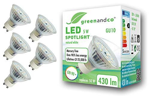5x Spot a LED greenandco IRC 90+ 4000K 110° GU10 5W (equivalente spot alogeni 50W) 430lm (bianco neutro) SMD LED 230V AC vetro, nessun sfarfallio, non dimmerabile