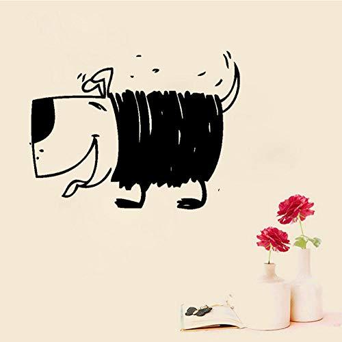 YANGSHUANG Sticker mural Décoration de décalque de décalque d'autocollant de mur de PVC de chien d'animal mignon de plaisir de 55CM * pour la chambre la chambre