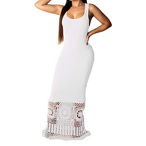 Floridivy Vrouwen Maxi Kleding van de zomer Sexy Solid stiksels mouwloze jurk, stikken zomerjurk Hollow Lace