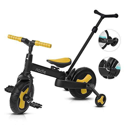 OLYSPM 4 en 1 Triciclo Plegable,Cuerpo de Carro agrandado,Bicicleta sin Pedales para...