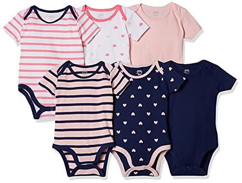 Amazon Essentials Body a maniche corte, Confezione da 6, Girl Heart Stripe, Prematuro