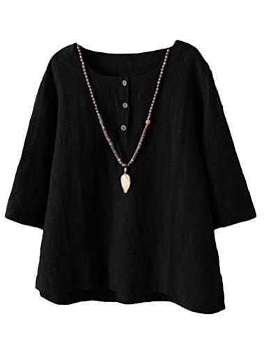 Vogstyle Damen Neue Baumwoll Leinen Tunika T-Shirt Jacquard Oberseiten, XL, Schwarz