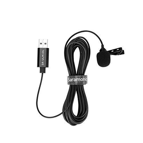 Saramonic Lavalier USB Micrphone for PC, 6M USB-A Laptop Desktop Computer Windows Mac PC Lapel Microphone (19.7ft)