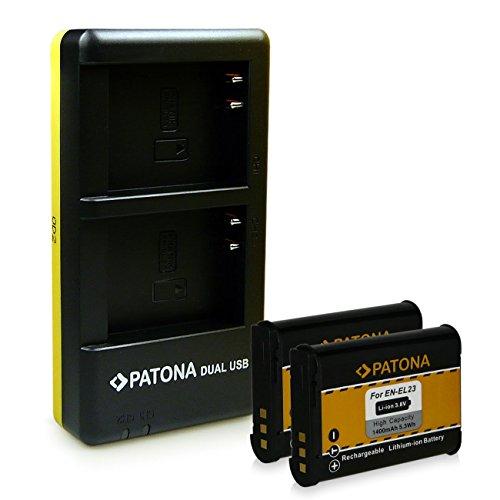 PATONA Dual Ladegerät + 2x Akku EN-EL23 für Nikon Coolpix P600 P610 P900 S810c inkl. micro-USB Kabel