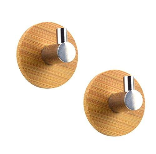 2pezzi autoadesivo ganci appendiabiti da parete, in bambù e acciaio INOX con adesivo 3m per accappatoio, cappotto, asciugamano, chiavi, borse, casa, cucina, bagno