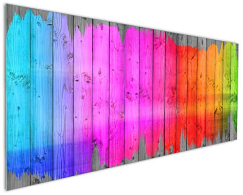 Wallario Küchenrückwand aus Glas, in Premium Qualität, Motiv: Holzpaneel - Bemaltes buntes Holz | Spritzschutz | abwischbar | pflegeleicht