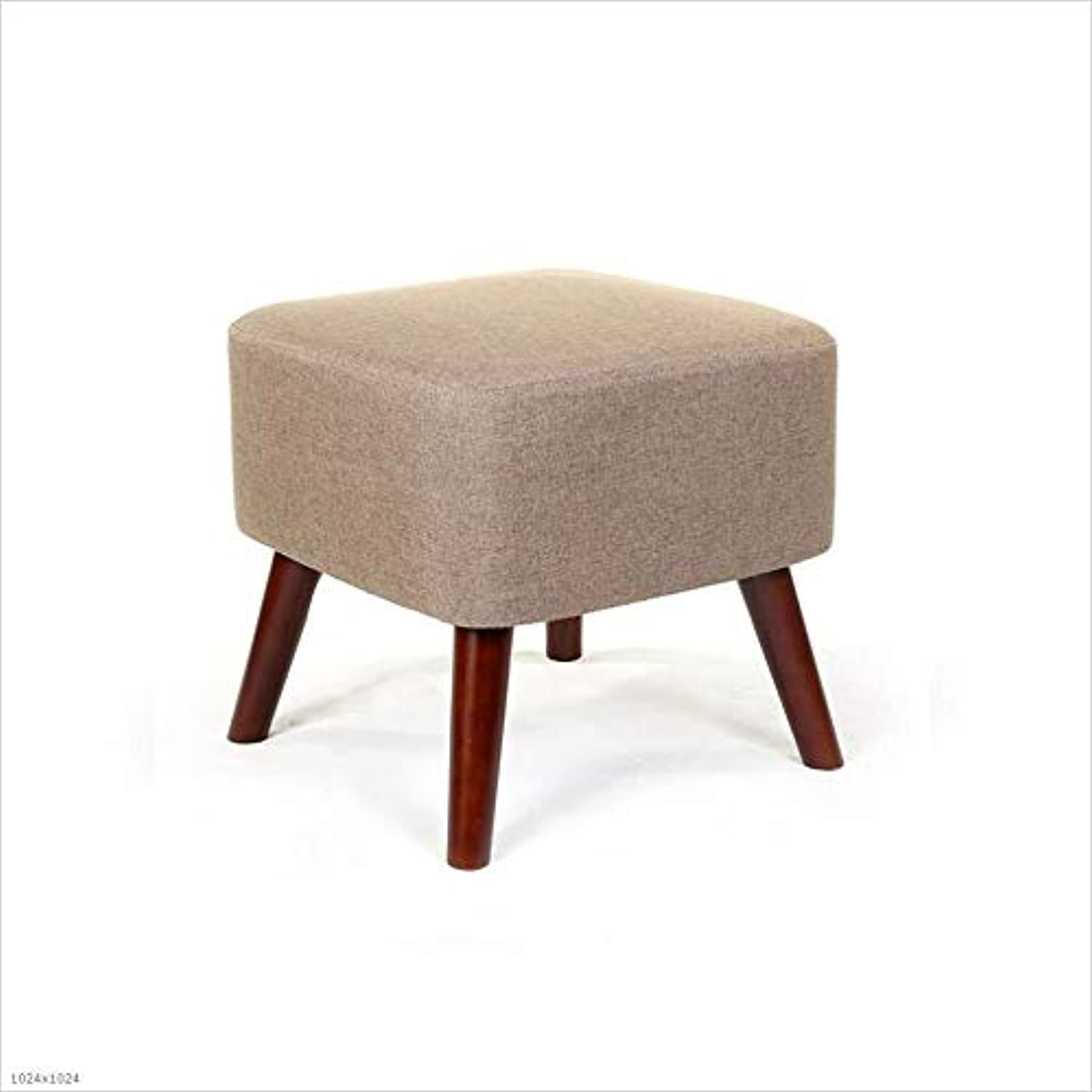 Sofa Stool Solid Wood Square Foot Bench Change shoes Stool 4X Solid Wood Legs Removable Wash Cushion H  40Cm,Lightcoffeecolor