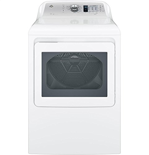 GE GTD65EBSJWS Aluminized Alloy Drum Electric Dryer with HE Sensor Dry, 7.4 Cu. Ft. Capacity, White,