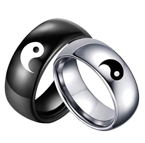 Anillo de acero inoxidable negro de plata a juego Yin Yang Tai Chi para hombres y mujeres, mejores amigas/novios/novio plateado