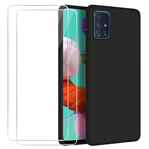 Funda para Samsung Galaxy A51 con [2 Pack] Cristal Templado Protector de Pantalla,Negro Suave Líquido Silicona Anti-arañazos Protectora Carcasa para Samsung Galaxy A51 (6.5 Pulgadas)