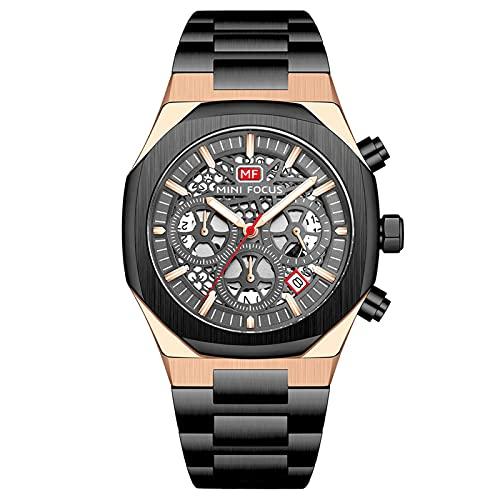 JTTM Reloj De Cuarzo para Hombre De Negocios De Moda con Cronógrafo Impermeable De Acero Inoxidable para Hombre, Fecha Automática,Rose Black
